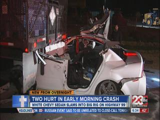 Two hurt in early morning crash