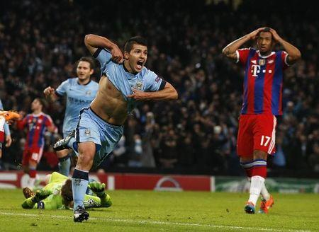 Manchester City's Aguero celebrates after he scored the winning goal against Bayern Munich during their Champions League Group E soccer match in Manchester