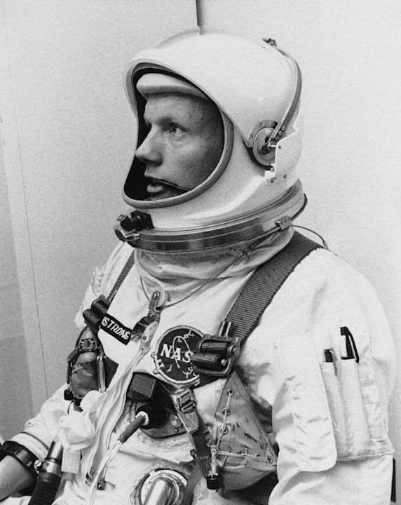 FILE - In this March 6, 1966 file photo Astronaut Neil Armstrong, pilot for the Gemini VIII mission is shown. The family of Neil Armstrong, the first man to walk on the moon, says he has died at age 8