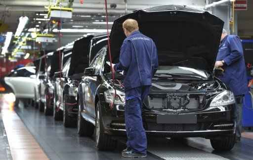 <p>A production line for Mercdes S-class cars. Eurozone business activity hit a nine-month high in December, continuing to show improvement from recent lows but remaining in negative territory, a key survey showed Friday.</p>