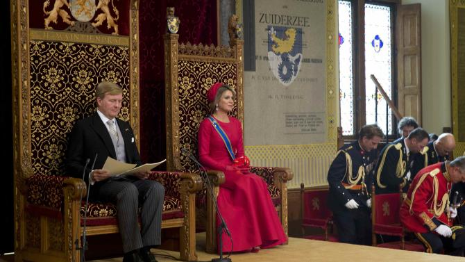 """Netherlands' King Willem-Alexander officially opens the new parliamentary year with a speech outlining the government's plan and budget policies for the year ahead looks on in the 13th century """"Hall of Knights"""", in The Hague"""