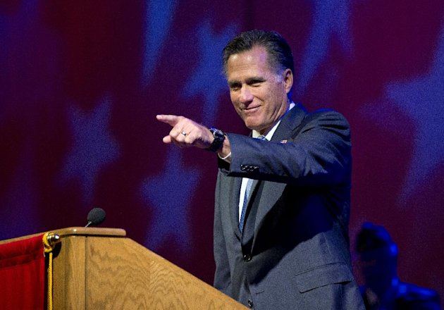 Republican presidential candidate, former Massachusetts Gov. Mitt Romney speaks at the American Legion National Convention, Wednesday, Aug. 29, 2012, in Indianapolis. (AP Photo/Evan Vucci)