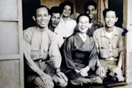 Image provided by Chou Ching-feng shows Taiwanese man Hsu Ching-chun (R), then a prisoner-of-war in Osaka, with his Taiwanese friends and family in a photo taken on June 5, 1952 in Osaka. Like the Koreans, the Taiwanese were second-class members of the Japanese army