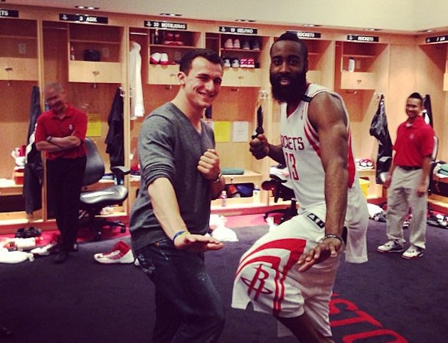 Johnny Football chillin&#039; in the Rockets&#039; locker room after the game...
