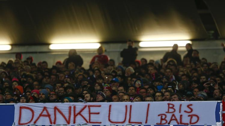 "Bayern supporters present a poster which reads ""Thank you Uli, see you soon"" during the German first division Bundesliga soccer match between Bayern Munich and Leverkusen in Munich"