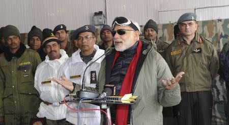 India's Prime Minister Modi addresses Army officers and soldiers at a base camp during his visit to Siachen