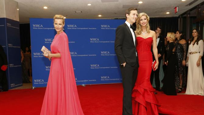 Actress Nielsen and businesswoman Trump with husband Kushner arrive for the annual White House Correspondents' Association dinner in Washington