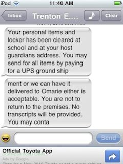 The text message expelling Chris Villiars from Southside Baptist