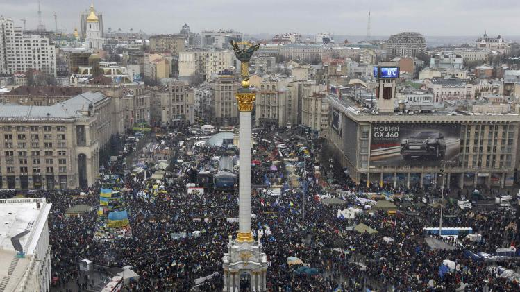 An aerial view shows Maidan Nezalezhnosti or Independence Square crowded by supporters of EU integration during a rally in central Kiev