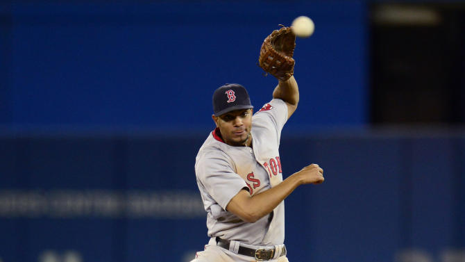 Toronto Blue Jays' Jose Bautista is out at second as Boston Red Sox' Xander Bogaerts throws to first for the double play during the eighth inning of a baseball game, Thursday, July 2, 2015, 2015 in Toronto. (Frank Gunn/The Canadian Press via AP) MANDATORY CREDIT