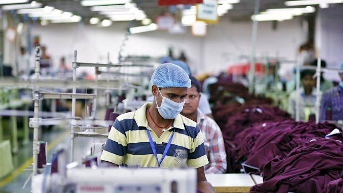File photo of an employee working inside a garment factory of Orient Craft Ltd in Gurgaon