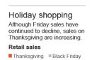 Graphic shows retail sales for Thanksgiving and Black Friday.; 1c x 4 inches; 46.5 mm x 101 mm;