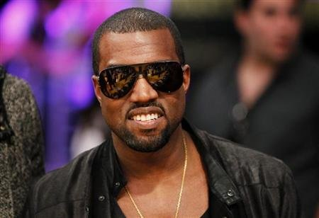 Recording artist Kanye West attends the NBA basketball game between Miami Heat and Los Angeles Lakers in Los Angeles