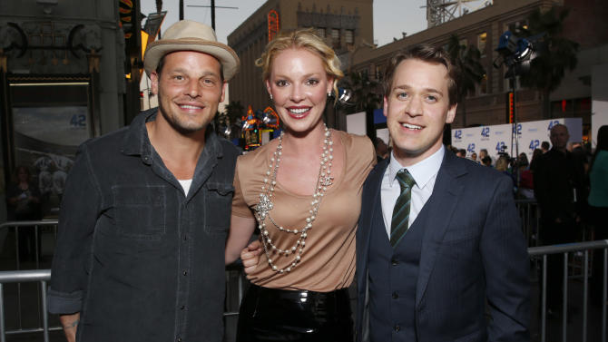 """Justin Chambers, Katherine Heigl and T. R. Knight arrive at the LA premiere of """"42"""" at the TCL Chinese Theater on Tuesday, April 9, 2013 in Los Angeles. (Photo by Todd Williamson /Invision/AP)"""