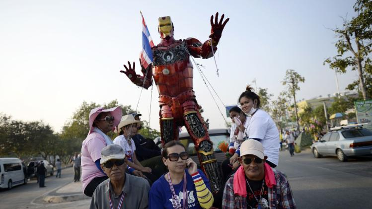 Anti-government protesters participate in a rally in Bangkok