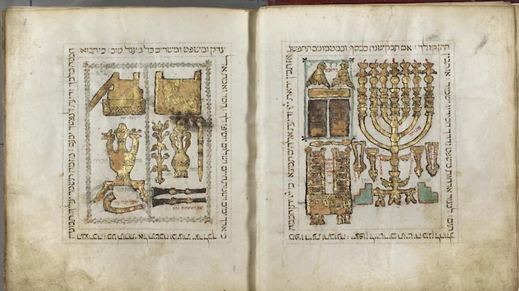 This photo released by the Palatina Library, based in Parma, Italy, shows a folio from a 13th century Hebrew bible written in Toledo, Spain. Israel's National Library says it has signed an agreement with a leading Italian collection to display online some of the world's most important Hebrew manuscripts, making them accessible to the public for the first time. National Library Judaica curator Aviad Stollman says it will be digitizing the Palatina Library's collection of about 1,600 documents dating to the Middle Ages. (AP Photo/Palatina Library, HOPD)