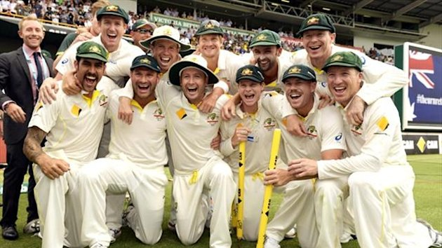 Australia's players celebrate regaining the Ashes in Perth (Reuters)