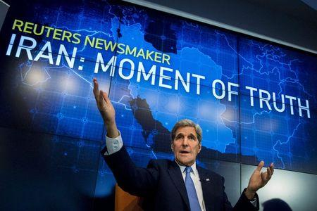 U.S. Secretary of State John Kerry speaks during a Reuters Newsmaker event on the nuclear agreement with Iran, in New York