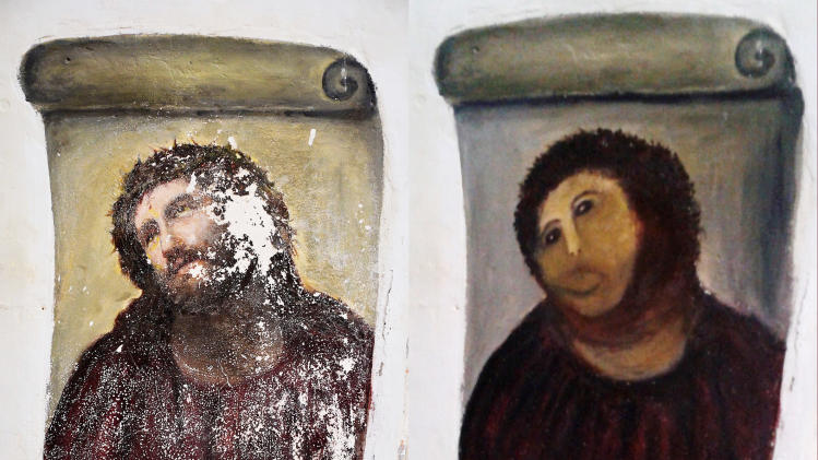 FILE - In this combination of two undated handout photos made available by the Centro de Estudios Borjanos, the 20th century Ecce Homo-style fresco of Christ , left and the 'restored' version, at right. A year ago, a botched restoration of a fresco of Christ by an 80-year-old Spanish pensioner drew mocking laughter. Now, the artist Cecilia Gimenez has the last laugh. Officials in Borja, a town of 5,000 people in northeastern Spain, said Tuesday Aug.13. 2013, the fresco has drawn more than 40,000 visitors and raised more than euro 50,000 ($66,285) for a local charity. Next week, Gimenez and the local council which owns the sanctuary are to sign a deal sharing the profits from merchandising that features the image. (AP Photo/Centro de Estudios Borjanos, File)