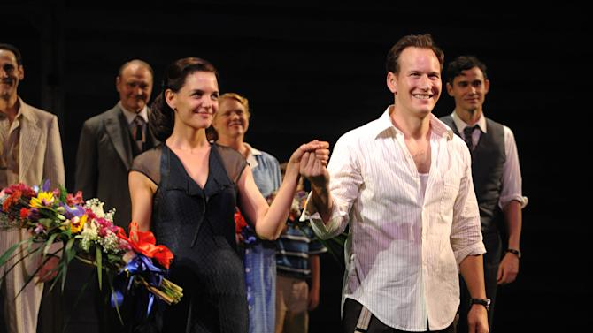 "FILE - This Oct. 16, 2008 file photo shows actors Katie Holmes, left, and Patrick Wilson at the opening night of the Broadway play ""All My Sons"" in New York. At just 33, Holmes is emerging from the public hysteria of her relationship with Cruise with open roads ahead, and, possibly, renewed ambition. (AP Photo/Peter Kramer, file)"