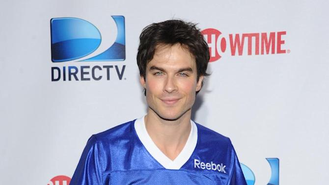 Ian Somerhalder arrives at DIRECTV's Seventh Annual Celebrity Beach Bowl, on Saturday, Feb. 2, 2013 in New Orleans. (Photo by Evan Agostini/Invision/AP)