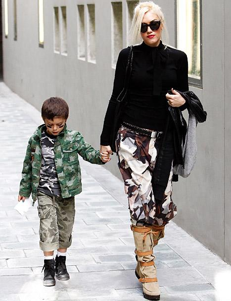 Gwen Stefani and Son Kingston, 5, Rock Matching Camouflage Outfits