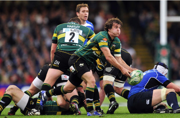 Northampton Saints' English scrum-half Lee Dickson passes the ball during their Heineken Cup Final match against Leinster at the Millennium Stadium, Cardiff, Wales, on May 21, 2011. AFP PHOTO/GLYN KIR