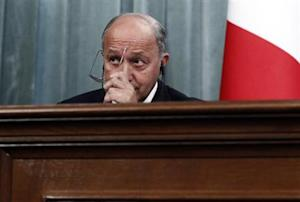 France's Foreign Minister Laurent Fabius attends a news conference after a meeting with his Russian counterpart Sergei Lavrov in Moscow, September 17, 2013.