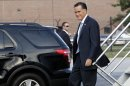 Republican presidential candidate, former Massachusetts Gov. Mitt Romney arrives in in Bedford, Mass., Thursday, Aug. 9, 2012. (AP Photo/Mary Altaffer)