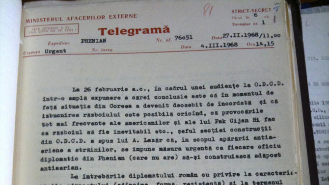 In this 1968 telegram from Pyongyang, North Korea, released by the Wilson Center North Korea International Documentation Project, a Romanian diplomat details a meeting with the North Korean Foreign Ministry in which foreign diplomats were warned that the Korean Peninsula was on the verge of war and encouraged to build bunkers as a precaution. In a move that echoes 1968, North Korea's Foreign Ministry has urged foreign diplomats to consider evacuating its citizens in case of an attack on Pyongyang. (AP Photo/Wilson Center North Korea International Documentation Project)