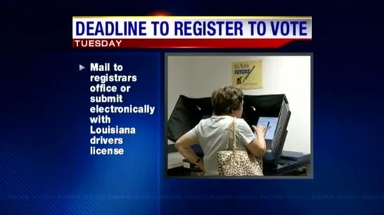 Deadline for voter registration Tuesday