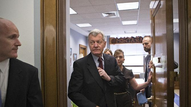 Senate Finance Committee Chairman Sen. Max Baucus, D-Mont. leaves his committee office on Capitol Hill in Washington, Tuesday, April 23, 2013, saying that he was going to speak to the news media in his home state of Montana before discussing his retirement from the Senate. (AP Photo/J. Scott Applewhite)