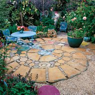 A patio of squares and rounds