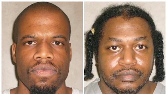 This photo combo of images provided by the Oklahoma Department of Corrections shows Clayton Lockett, left, and Charles Warner. Lockett and Warner, two death-row inmates who want to know the source of drugs that will be used to execute them, have placed Oklahoma's two highest courts at odds and prompted aggravated members of the Legislature to call for the impeachment of Oklahoma Supreme Court justices. (AP Photo/Oklahoma Department of Corrections)