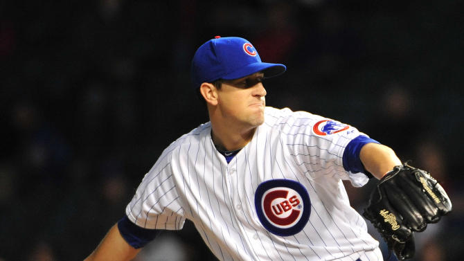 Chicago Cubs starting pitcher Kyle Hendricks delivers during the first inning of a baseball game against the Cincinnati Reds, Wednesday, Sept. 17, 2014 in Chicago.  (AP Photo/David Banks)