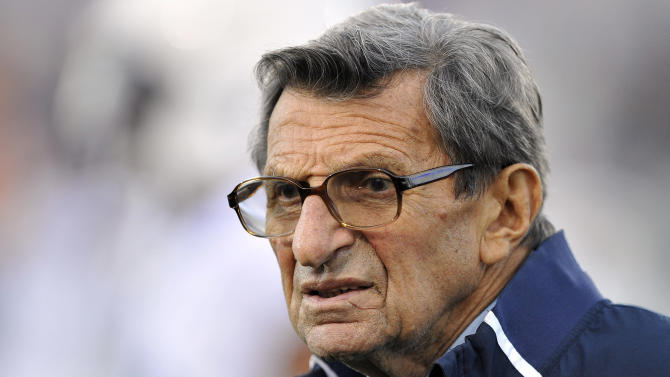 FILE - In this Oct. 22, 2011 file photo, Penn State coach Joe Paterno stands on the field before an NCAA college football game against Northwestern, in Evanston, Ill. Former FBI director Louis Freeh, who led a Penn State-funded investigation into the university's handling of molestation allegations against former assistant football coach Jerry Sandusky, is scheduled to release his highly anticipated report Thursday, July 12, 2012.  (AP Photo/Jim Prisching, File)