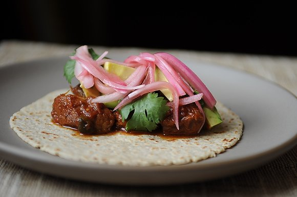 Slow-Cooked Pork Tacos with Pickled Onions