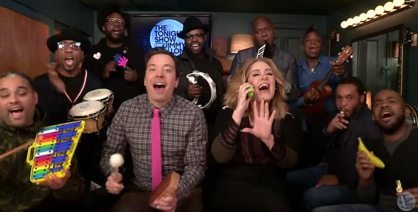 "Watch Adele, Jimmy Fallon, and the Roots Perform ""Hello"" With Classroom Instruments"