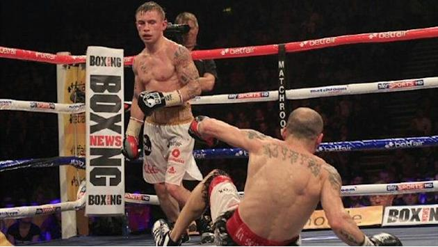 Boxing - Frampton stops Martinez for European glory