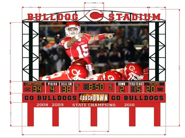 The Carthage Jumbotron, as it will appear when completed — Carthage ISD