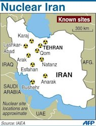 Map showing known nuclear sites in Iran according to the International Atomic Energy Agency