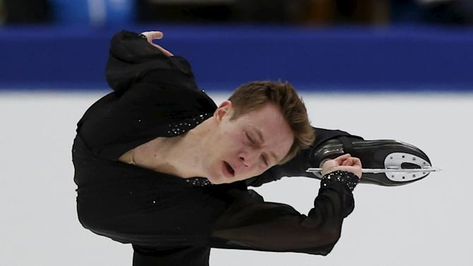 Grant Hochstein of the U.S. performs during the men's singles free skating program at the ISU Grand Prix of Figure Skating in Nagano, Japan