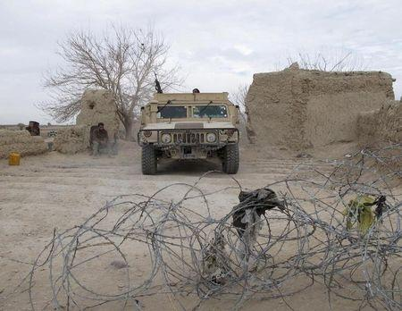 An Afghan National Army vehicle is seen parked at an outpost in Helmand province, Afghanistan