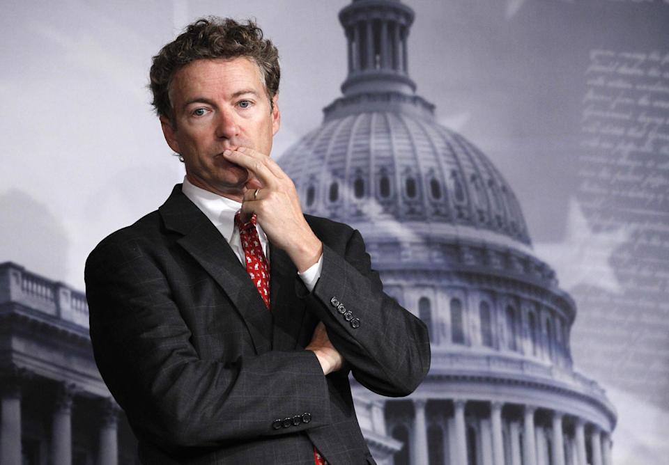 Sen. Rand Paul, R-Ky. listens to a question during a news conference on Capitol Hill in Washington Thursday Oct. 13, 2011, to discuss the introduction of a Republican alternative jobs bill.  (AP Photo/Manuel Balce Ceneta)