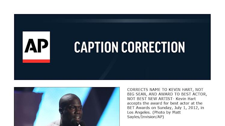 CORRECTS NAME TO KEVIN HART, NOT BIG SEAN, AND AWARD TO BEST ACTOR, NOT BEST NEW ARTIST- Kevin Hart accepts the award for best actor at the BET Awards on Sunday, July 1, 2012, in Los Angeles. (Photo by Matt Sayles/Invision/AP)