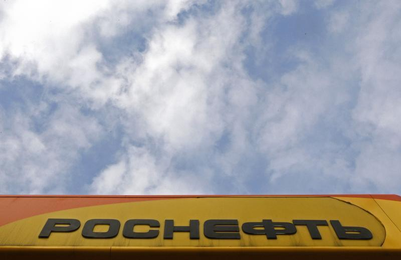 The company logo at a Rosneft petrol station in St.Petersburg
