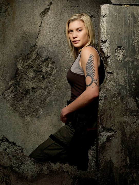 Katee Sackhoff as Kara &quot;Starbuck&quot; Thrace in Battlestar Galactica on the Sci Fi Channel. 