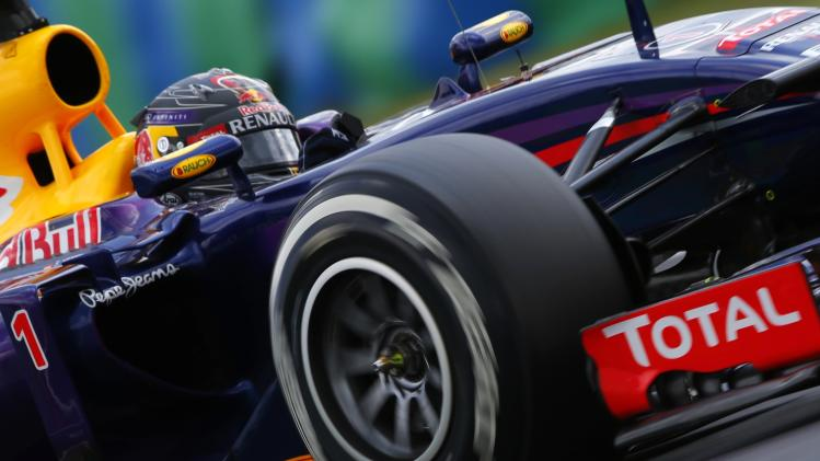 Red Bull Formula One driver Vettel of Germany drives during the qualifying session of the Hungarian F1 Grand Prix at the Hungaroring circuit