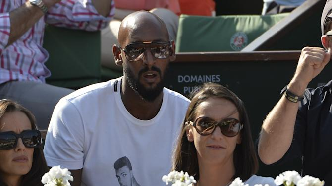French footballer Nicolas Anelka pictured in the crowd at the Davis Cup semi-final between France and Czech Republic at Roland Garros in Paris, on September 13, 2014