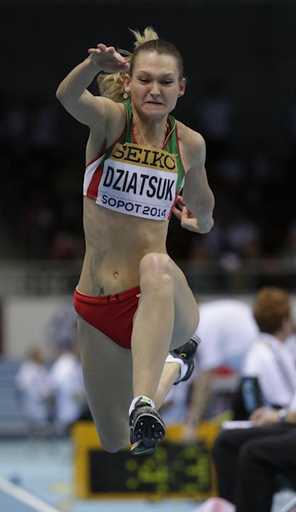 Belarus' Kseniya Dziatsuk makes an attempt in the women's triple jump final during the Athletics Indoor World Championships in Sopot, Poland, Saturday, March 8, 2014